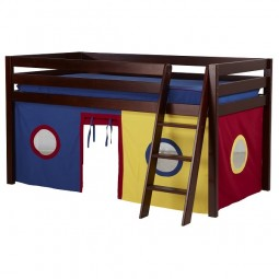 low loft kids bunk bed with curtains in cherry finish