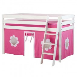low loft bed with curtains white finish
